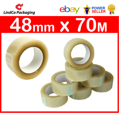 6 Rolls Clear Packing Tape Packaging Sticky Tape Box Sealing Roll 48mm x 70meter