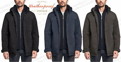 Mens Weatherproof Ultra Stretch Tech Jacket Built In Knit Bib Removable Hood