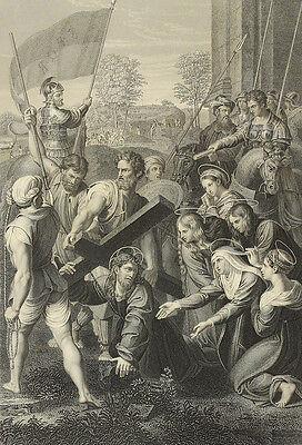 Bearing the Cross. Stahlstich von W. Holl nach Raphael, 1860