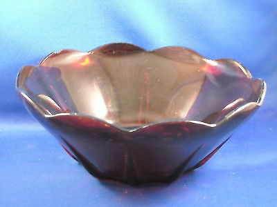 """Ruby Red """"open"""" Vegetable / Salad Bowl  Scalloped Edge"""