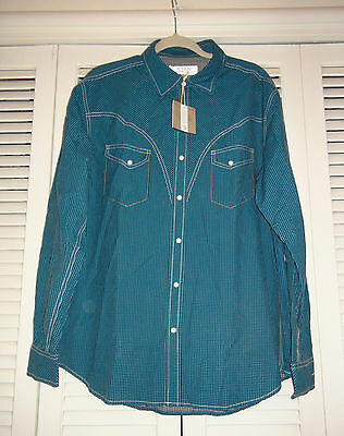 Ryan Michael T1327PGP the Deadwood Peacock Gingham Check Silk Cotton Western NWT