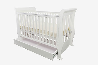 3 in1 Wooden Sleigh Baby Cot & Mattress, Converts To Toddler Bed