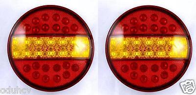 Pair 12V Led Tail Lights Hamburger Rear Lamp Chassis Lorry Truck Trailer Tractor