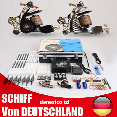 2 Tattoo Machine Tattoo Gun 50 Nadeln Tipps Tattoo Set w/Koffer Komplett Set Kit