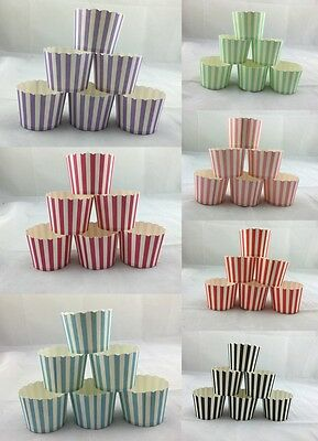 100x Shmick Strip Paper Cupcake Holders Muffin Baking Cups Party Wedding Bulk