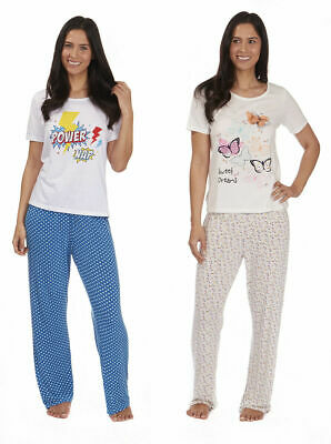 Womens Ladies New Pyjama Set PJs Nightwear Cotton Rich Jersey Gift Comic Print