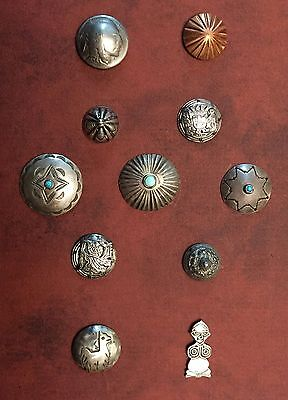 Awesome Card Of 11 Native American & Mexican Silver Buttons