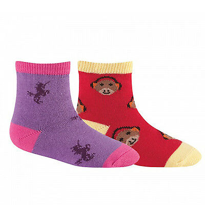 Sock It To Me Girls Socks - Twin Pack - Unicorn & Monkey - Age: 2-4
