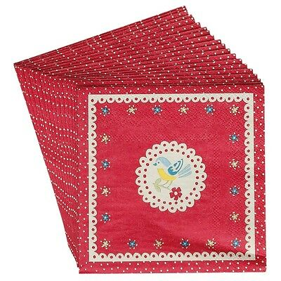 dotcomgiftshop PACK OF 20 RED VINTAGE DOILY BIRD & FLOWERS COCKTAIL NAPKINS