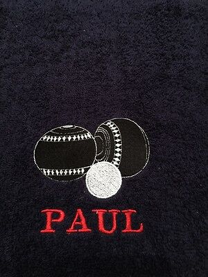 Personalised embroidered Lawn bowls/ Bowling towel ideal gift