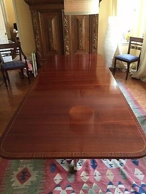 Late Victorian Regency Style mahogany pedestal dining table