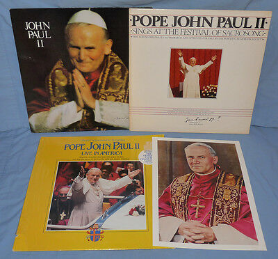 POP JOHN PAUL II Lot of 3 LP Records with Photo Live in America, Sacrosong VG-EX