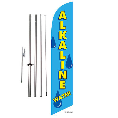 Alkaline Water Store Advertising Feather Banner Swooper Flag Kit + spike