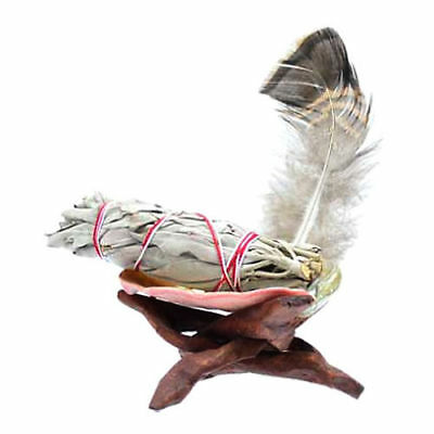 Mini Ritual Smudge Purification Kit w/ White Sage Abalone Shell Stand & Feather