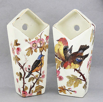Pair Vintage 30s Wall Pocket Vases German Birds Hand Painted China Numbered