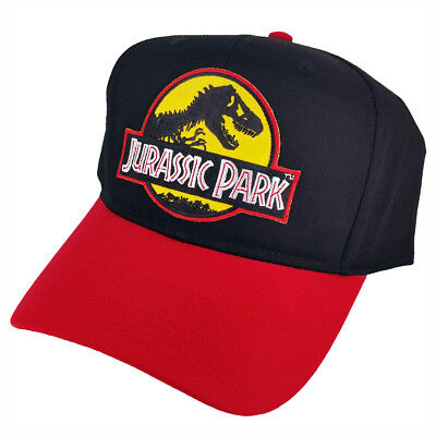Jurassic Park Movie Logo Yellow Sci-Fi Patched Snapback Red Black Cap Hat