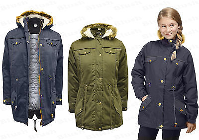 NEW Kids Girls Faux Fur Hooded Parka Khaki Military Fashion Jacket Coat Top 7-13