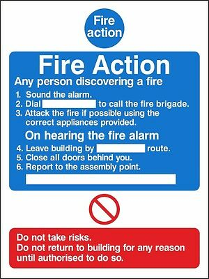 Fire Action Notice Sign 150mm x 200mm,Rigid Plastic Or Self Adhesive