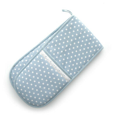 Dexam Vintage Blue Spot Dot  Double Oven Glove Mitt Textile Cotton Insulated New