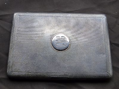 Cigarette Case, Sterling Silver, Engine Turn Initialled, Flat Hinge 1907 Antique