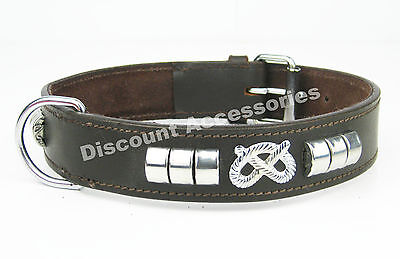 Brown Leather Dog Collar Staffordshire Bull Terrier Staffy Knot Staffie Staffy