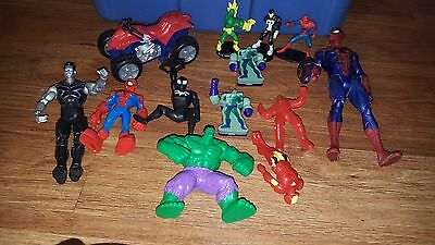 lot of marvel comics action figures Incredible Hulk, Spider-Man and others