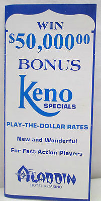 Vintage Aladdin Hotel Casino Keno Hints Rules Brochure Las Vegas Nevada