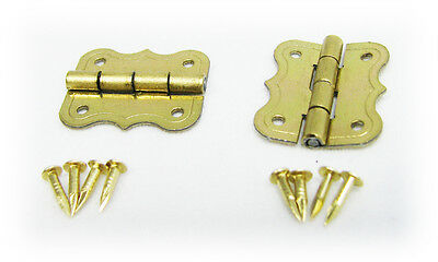 2pc. Small Brass-Plated Butterfly Hinges w/ Screws - Great for Crafts!