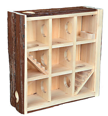 Natural Wood 3 Storey Playing Tower with Acrylic Glass for Mice & Hamsters