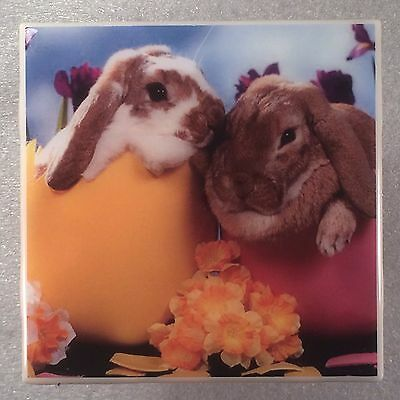 EASTER Ceramic Tile Coaster Holiday Bunny