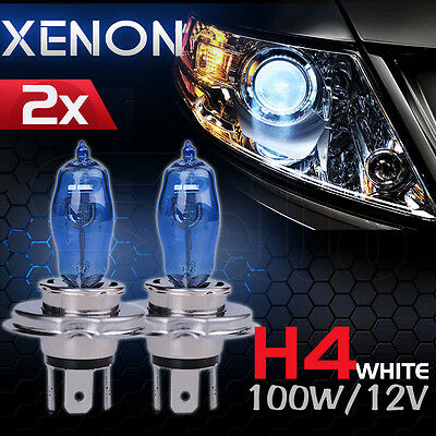 H4 HEADLIGHT GLOBES CAR LIGHT BULBS 100/90W 6000K 12V HALOGEN (1 Pair)