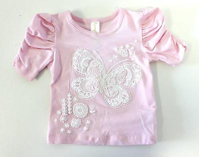 Baby Girl - Pink & White Applique Lace Pattern Butterfly Top - NEW