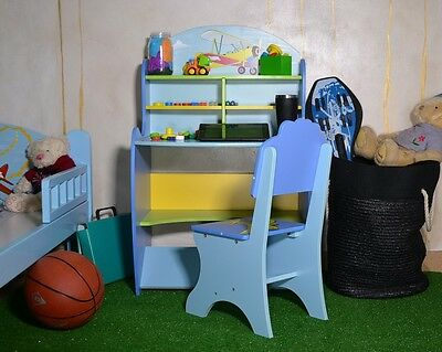 Childrens Study Desk Table And Chair Set Boys Kids Drawing Reading Shelf