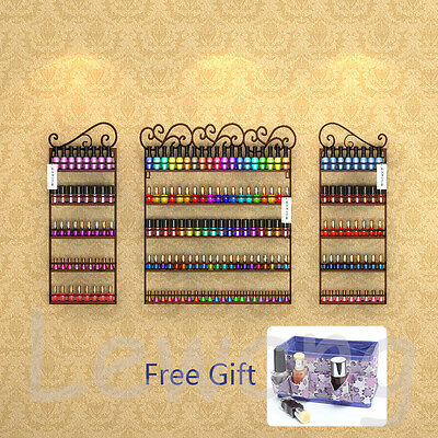 3 in 1 5 Tier Nail Polish Rack Holds 200+ Bottles Wall Display Organizer