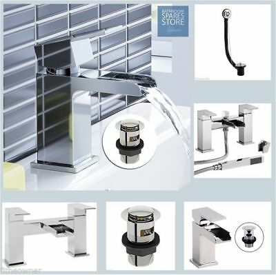 Square Waterfall Basin Mono SInk Bath Mixer Tap Chrome Luxury Bathroom Cloakroom