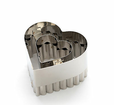 Dexam Double Sided Heart Vol-au-Vent Cutter Cookie Pastry Plain Fluted  Party