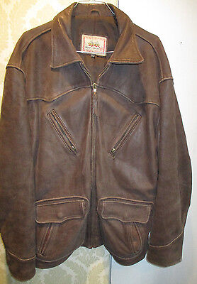 giubbino pelle LEE TREVOR leather jacket AVIATOR*SOFT LEATHER JACKET*BROWN*XL