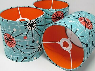 Turquoise 50s Mid Century Sputnik Atomic Orange Lampshade Ceiling Light Shade