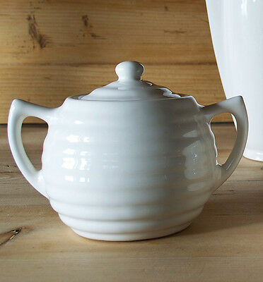 Bauer Pottery Sugar Bowl - Soft White - Made In USA