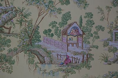 BRAEMORE FABRIC Chinoiserie Asian Toile Yellow Ground SOLD BY THE YARD