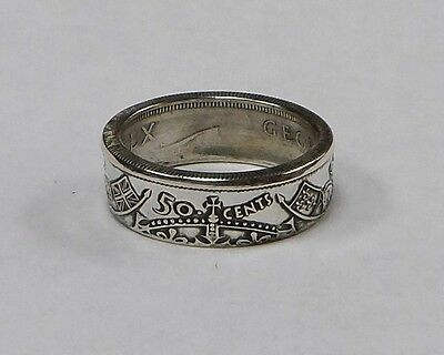 Canada  Coin Ring Made From Silver Canadian Half Dollar Size 7-13