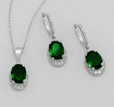 Necklace And Earring Set With Lab Created Emeralds And Diamonds