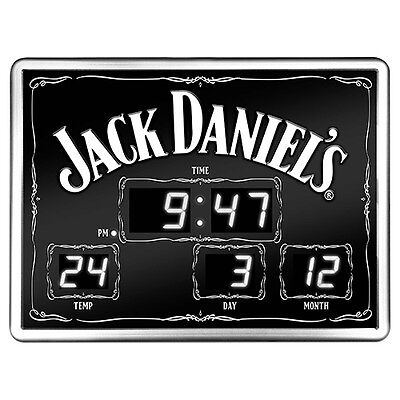 JACK DANIELS Glass Digital Led Clock Man Cave Bar Gift - Date Time Temperature