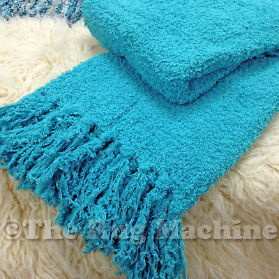CHENILLE STYLE AQUA BLUE COSY LUXURIOUS SOFT THROW RUG BLANKET 130x150cm **NEW*