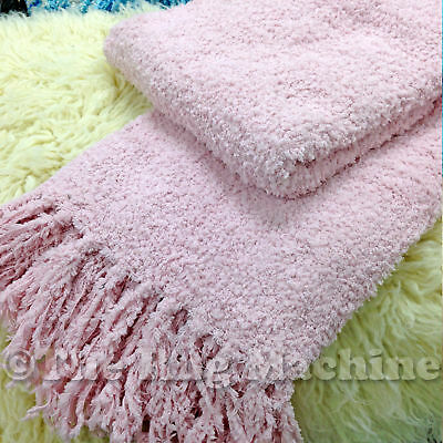 CHENILLE STYLE LIGHT PINK COSY LUXURIOUS SOFT THROW RUG BLANKET 130x150cm *NEW*
