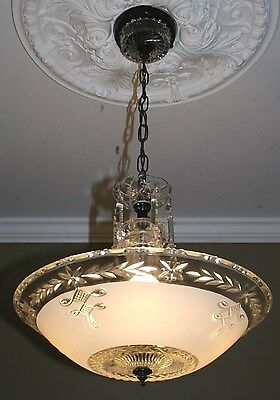 Antique white frosted glass custom art deco light fixture ceiling chandelier