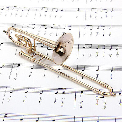 High-quality gifts! Trombone model 1/6 Mini Musical Instrument+ Leather box