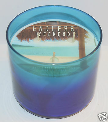 Bath & Body Works Endless Weekend Scented Candle 3 Wick 14.5 Oz Blue Ombre Large