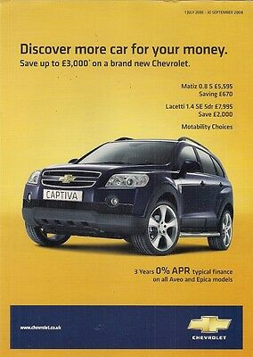 Chevrolet Special Offers July-Sept 2008 UK Brochure Matiz Aveo Lacetti Captiva