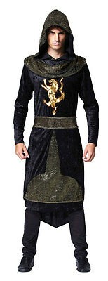 Mens Medieval Mercenary Black Knight Lionheart Fancy Dress Costume Outfit New